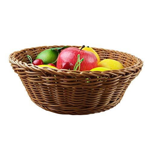 BESTonZON Cestas de Frutas de Mimbre Cesta de Almacenamiento de la Cocina de Mimbre de la Fruta de Las Verduras(tamaño Grande)