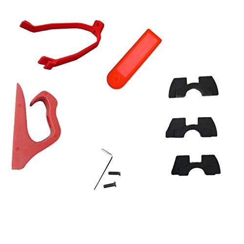 NEYOANN para los Accesorios Scooter M365 / M187 / Combinación Set Gancho Especial Amortiguador Amortiguador Amortiguador Medidor de Silicona Manga de Silicona Rojo