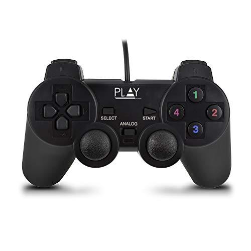 Ewent PL3330 Play Controlador para Juegos USB con Cable, Negro