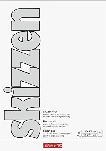 Brunnen 1047355 Zeichen-/Skizzenblock (A3, 190 g/m², 50 Blatt)
