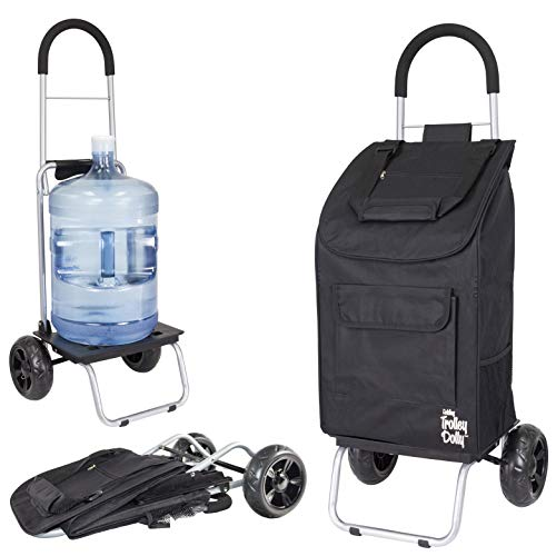 dbest products 1517 Trolley Dolly, Black Shopping Grocery Foldable Cart