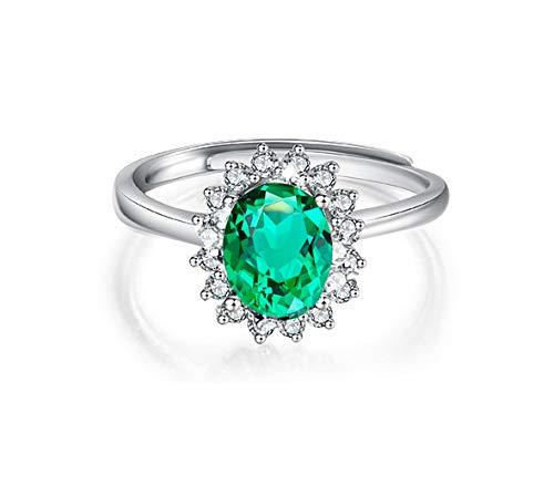 Hedoné - Anello Solitario Donna Regolabile Pietra Verde Smeraldo Ametista Stile Elegante Lusso con strass Anelli per fidanzamento Color Argento