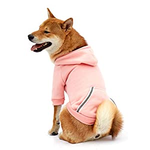 Dog Hoodie Fleece Sweatshirt for Small Medium Large Extra Small XL Dogs Charcoal Gray Pink Red Purple with Harness Hole and Reflective Stripe Zipper Pullover Dogs Hooded Warm Jacket (L, Pink)