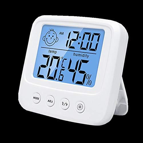 MYXE Hygrómetro Termómetro Estación meteorológica LCD Digital Temperatura Monitor de Humedad Medidor con Reloj, fácil de Leer, Pantalla LCD para Oficina en casa Habitación bebé (Color : Backlight)
