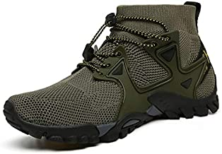 ABAO Hiking Shoes Mens Womens Outdoor Athletic Sports Shoes Walking Shoes Trail Running Shoes Trekking Climbing Stylish Slip Resistant Fitness Walking Jogging Sock Sneakers Travel Lightweight Barefoot, Armygreen, 8.5 Women/7 Men