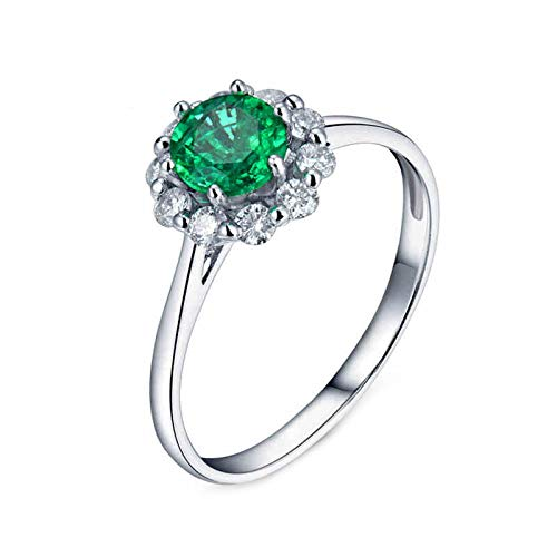 ButiRest Mujer Kein-Metall-Stempel (Mode nur) oro blanco 18 quilates (750) bala verde Emerald