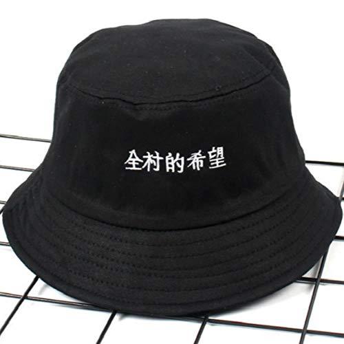 Xst Bordado Chino Letra Cubo Sombrero Hip Hop al Aire Libre Verano japonés Viaje Sombrero Vacaciones Mujeres SolPescador Gorra, Negro, tamaño Adulto