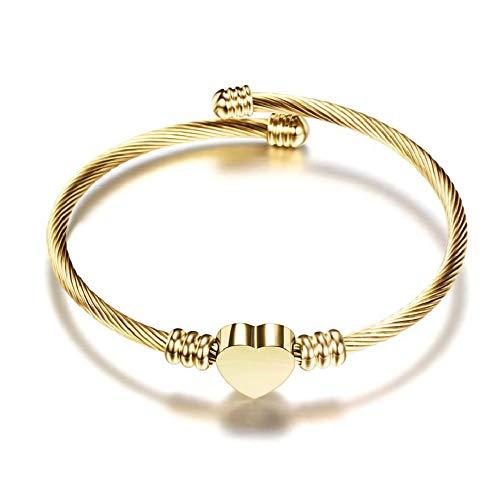 MiniJewelry Heart Bracelet for Women Girls Stainless Steel Cuff Bracelet Friendship Bracelets BFF, Adjustable Gold Cuff, Silver Cuff, Rose Gold Cuff Gold