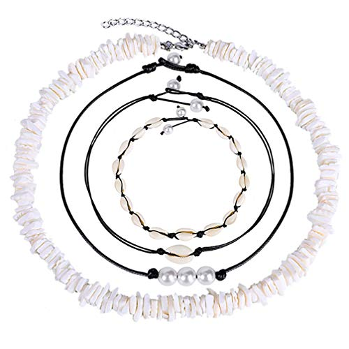 SUPVOX 4 Piezas Collar de Conchas de Perlas Gargantilla Conjunto Collares de Perlas Collar de Conchas Blancas Joyería de Mujer