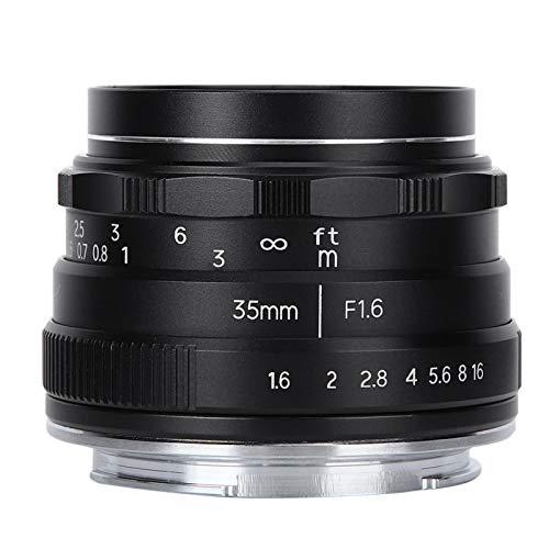 Lente de 35 mm F1.6 Lente de cámara Negro 35 Mm Longitud focal Flexible y ampliamente utilizado, para SLR, para cámara deportiva