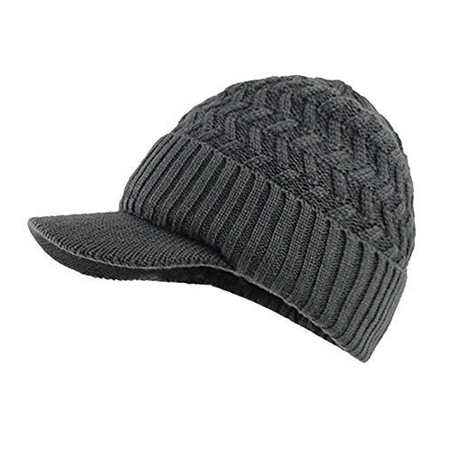 Mens Winter Hats Warm Fleece Lined Unisex Ribbed Knit Hat Visor Beanie Skull Caps (Gray)