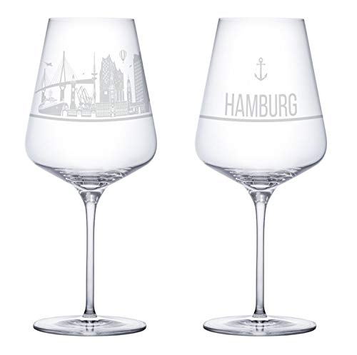 I LOVE Hamburg Weingläser 2er Set | Weinglas mit Gravur der Hamburg Skyline | Souvenir Deutschland | Geschenkidee Muttertag, Vatertag, Gastgeschenk | Geschenkbox Deutschland | MADE IN GERMANY