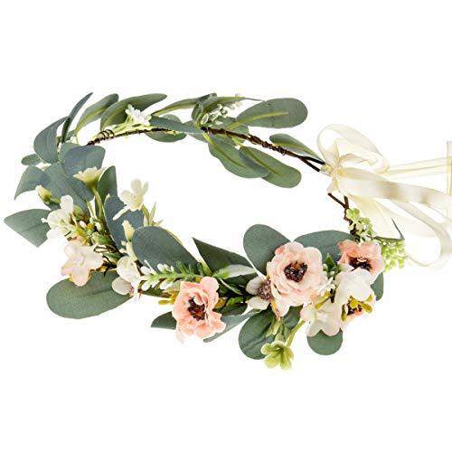 Kleine Blumenkrone, Stirnband, Boho-Braut-Blumenkranz, Eukalyptus, Grün, Blumengirlande für Hochzeit, Kopfschmuck, rose, One size