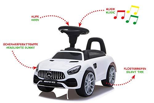 Jamara 460606 Slippers Mercedes-Benz AMG GT - kofferbak onder de zitting, duw- en handgreep, claxon en geluid op het stuur, getrouwe look, kantelbeveiliging, wit
