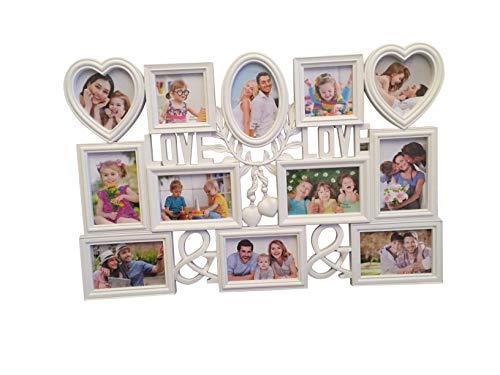 Lalia Fotorahmen Collage 12 Fotos, Herzform Bilderrahmen 72x48 cm, Liebsten/die Liebste, zur Hochzeit, zum Geburtstag, weiß, Kunststoff, romantisch 12 Fotos zu je 10x15cm (D5)