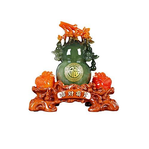 liushop Decoración de Escritorio Lucky Golden Toad Calabaza Decoración Fortune Frog Inicio Cabina de Vino Desktop Decoration Feng Shui Golden Toad Statue decoración Escritorio Escultura Manu