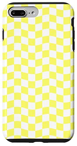 iPhone 7 Plus/8 Plus Pastel Yellow White Checkerboard Checkered Plaid Waves Case