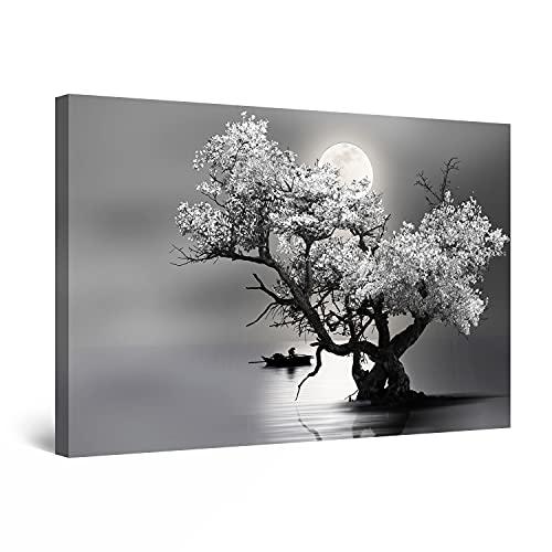 Startonight Cuadro Moderno en Lienzo - Árbol Flores y Luna en Blanco y Negro - Pintura Naturaleza para Salon Decoración Grande 80 x 120 cm
