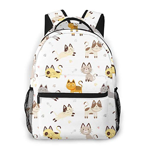 Lawenp Fashion Unisex Backpack Cute Cartoon Cat Bookbag Lightweight Laptop Bag for School Travel Outdoor Camping