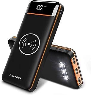 モバイルバッテリーQi 25000mAh 大容量 無線と有線両用 ワイヤレス充電 3個LEDライト搭載 PSE認証済 LCD残量表示 急速充電 二つ入力+3つUSB2.4A出力ポート 携帯バッテリー 無線充電器 iphone/Android/ipad対応