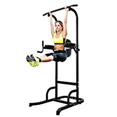 ✅HEAVY DUTY CONSTRUCTION: The heavy-duty power tower steel tube frame ensures steady support for the dip station. U shaped frame base with skid resistant feet, safe and stable.Weight Capacity: 330lbs ✅COMFORTABLE HAND GRIPS: High density foam grips, ...