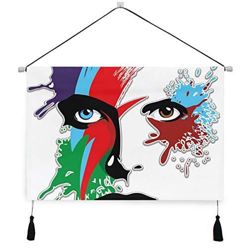 HATESAH Arazzo Dipinto ad Olio Appeso a Parete Poster in Tela HD,Bowie 'Eyes Ziggy Stardust Expression Ispirato Opera Spruzzi Colorati,Poster Decorativi su Tela per camere e dormitori,Hotel