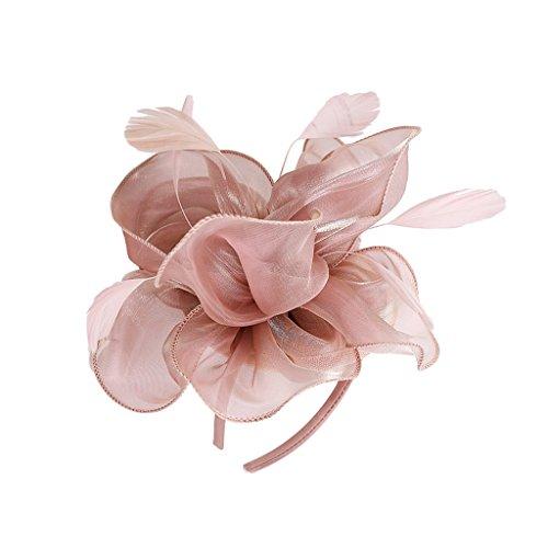 MagiDeal Dame Blume Fascinator Hut 1920er Gatsby Stirnband Cocktail Party - Rosa