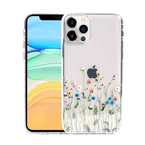 Sephonie Flower Case for iPhone 12/12 Pro 61quot Floral Pattern Clear Slim UltraThin Girly Design Protective Hard PC Back with Soft TPU Bumper Phone Cover for Girls and Women | Wildflowers