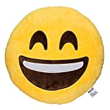 Emoji Smile Face Emoticon Cushion Stuffed Plush Soft Pillow, Official Certified, EvZ 32cm Yellow
