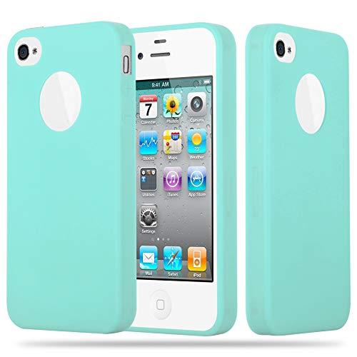 Cadorabo Funda para Apple iPhone 4 / iPhone 4S en Candy Azul - Cubierta Proteccíon de Silicona TPU Delgada e Flexible con Antichoque - Gel Case Cover Carcasa Ligera