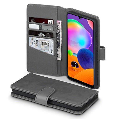 TERRAPIN, Kompatibel mit Samsung Galaxy A31 Hülle, [ECHT Leder] Brieftasche Case Tasche mit Standfunktion Kartenfächer und Bargeld - Grau