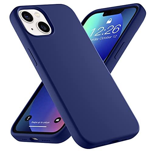 Upeak Liquid Silikon Hülle Kompatibel mit iPhone 13 Hülle 2021, 6.1 Zoll Anti-Schock Handyhülle DREI Schichten Komplette Schutzhülle Cover Bumper für Damen Herren, Navy Blau