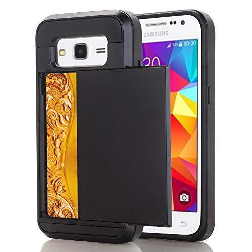 Samsung G7200 Hoesje Case, slanke portemonnee kaartsleuf houder schuiven verborgen zak dubbele laag zware bescherming robuuste harde shell Hoesje Case Case voor Galaxy G7200 5.25inch, Samsung G7200 5.25inch, 12