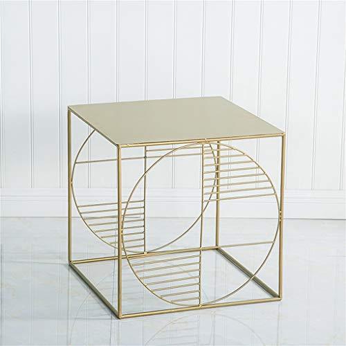 Mesa de centro cuadrada/simple mesa auxiliar, elegante, fácil de combinar, todo el material metálico, duradero, perfecto para sala de estar, muebles multiestilo opcional (tamaño: 45 × 45 × 45 cm)