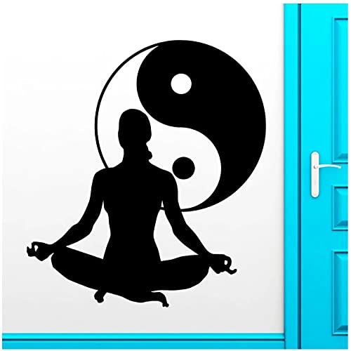WYLYSD Calcomanía De Pared De Yoga, Meditación Zen, Salud, Yin Yang, Tai Chi, Pegatinas De Pared Para Decoración De Pared De Yoga, Decoración Del Dormitorio Del Hogar, Mural 64X57Cm