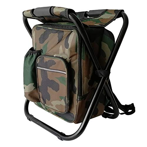 Lightweight Backpack Chair Cooler Foldable Camping Dove Stools Portable Beach Chair Suitable for Hunting Hiking Fishing (Camouflage)