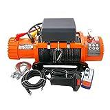 XZZ 12V / 24V Elektrische Motorwinde, 12000lbs/5443kg Zugkraft, 27M Faserseil, Mit 2 Fernbedienungen (1 Drahtlos Und 1 Kabelgebunden), Geeignet Für UTV ATV, Anhänger, LKW
