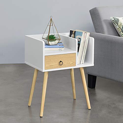 [en.casa] Beistelltisch mit Schublade Kommode Weiß-Holz Nachttisch mit 2 Ablagen 64 x 50 x 36 cm Nachtschrank Retro Nachtkommode