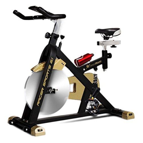 Fitness House Racer Sports Dorata, Bicicletta Indoor, Volano da 21 kg E Computer Unisex-Adulto, Nero/Oro, Standard