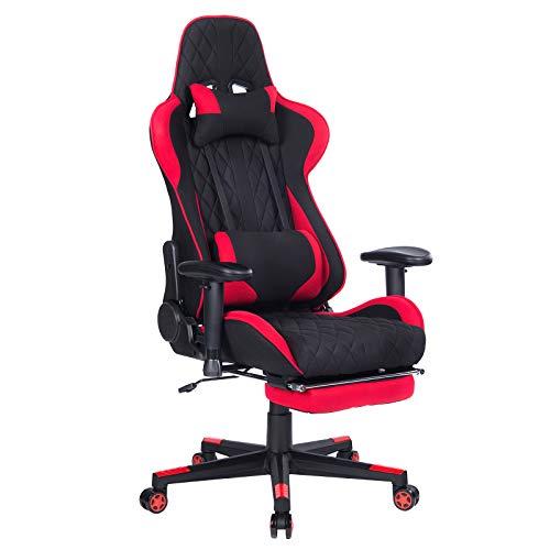 WOLTU Gaming Stuhl BS41rt Racing Stuhl Bürostuhl Chefsessel Schreibtischstuhl Sportsitz mit Kopfstütze und Lendenkissen, Armlehne verstellbar, mit Fußstütze, Stoff, höhenverstellbar, Rot