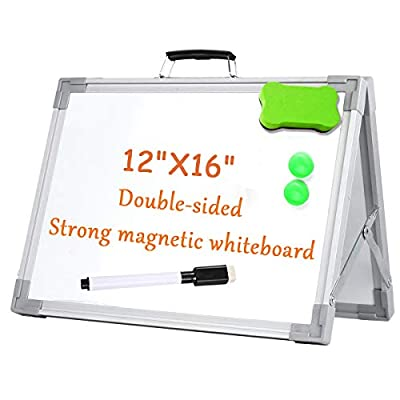 Small Magnetic Dry Erase White Board, Foldable Mini Magnetic Desktop Whiteboard Easel Portable with Handle for Kids Drawing, Teacher Instruction, Memo Board 1 Pens, 2 Magnets and 1 Eraser - 12X16''