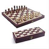 Xywh Tablero de ajedrez Profesional De Gama Alta de Madera de ajedrez Plegable portátil de Entretenimiento Establece Tablero de Madera Juego sólido Hecho a Mano Juego de Damas