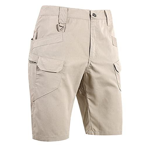 ZDJH Men's Waterproof and Scratch-Resistant Multifunction Outdoor Pocket Assault Cargo Shorts Khaki