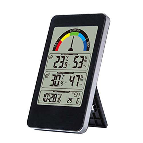 Xfc digitale weerstation, binnen- en buitentemperatuur en vochtigheid Comfort Display 12/24 uur schakelaar met grote Touchscreen digitale elektronische alarmklok