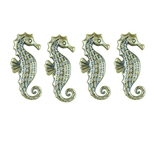 YES Time 4 Pieces Seahorse Knob Zinc Aloy Door Pull Knobs Cabinet Drawer Cupboard Pull Handles