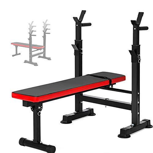 WOERD Banco de Pesas Plegable Bancos Musculacion Entrenamiento Maquina Gimnasio Gym Altura Ajustable con Barra Simple Estante para Sentadillas, Carga 200KG