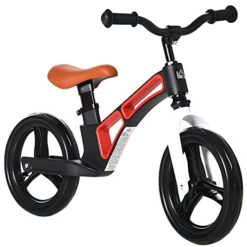HOMCOM Bicicleta sin Pedales para Niños de 2 a 5 Años Aleación de magnesio Bicicleta de Equilibrio Infantil con Sillín y Manillar Ajustables Ruedas de Goma 86x41x49-56 cm Negro