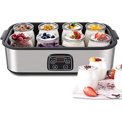 Yogurt maker, Automatic Digital Yogurt Maker Machine with LCD Display, 8 Glass Jars 48 Ozs, Stainless Steel Design,Auto Temp Control
