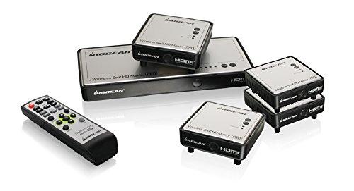 IOGEAR Long Range Wireless 5x2 HDMI Matrix PRO with 3 Additional Receivers, GWHDMS52MBK4