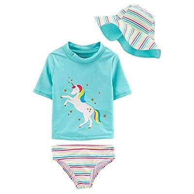 Carter's 3 Piece Little Girls Swimsuit, Rash Guard, Hat (Unicorn, 18mos) Aqua